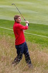 25.06.2014, Golf Club Gut Laerchenhof, Pulheim, GER, BNW International Golf Open, im Bild Stefan Kiessling (Bayer 04 Leverkusen) nach einem Schlag eines Balles, der ausserhalb des Feldes gelandet ist // during the International BMW Golf Open at the Golf Club Gut Laerchenhof in Pulheim, Germany on 2014/06/25. EXPA Pictures © 2014, PhotoCredit: EXPA/ Eibner-Pressefoto/ Schueler<br /> <br /> *****ATTENTION - OUT of GER*****