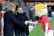 (L-R) coach Gertjan Verbeek of FC Twente, mascotte of AZ