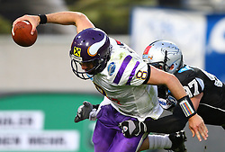 28.05.2011, Tivoli Stadion, Innsbruck, AUT, EFL Halbfinale, Swarco Raiders Tirol vs Raiffeisen Vikings, im Bild Quarterback Sack von Robert Zernicke, (Swarco Raiders Tirol, #97, DL) gegen Christoph Gross, (Raiffeisen Vikings, #8, QB) ,  EXPA Pictures © 2011, PhotoCredit: EXPA/ T. Haumer