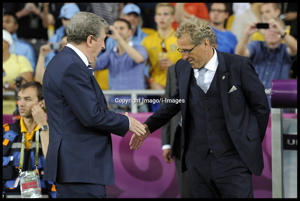 Erik Hamren SWE (right) team manager Shakes Hands with Roy Hodgson during England v Sweden in the Group D Sweden v England match, June 15, 2012, in Kiev during the UEFA Euro 2012. Photo by Imago/i-Images