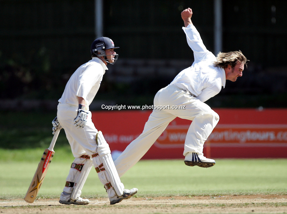 Mark Gillespie bowls on his way to figures of 6 for 81 during day 3 of the State Championship Final at Eden Park's outer oval, Auckland, New Zealand, Monday 5th April 2004.Photo: Andrew Cornaga/PHOTOSPORT<br />