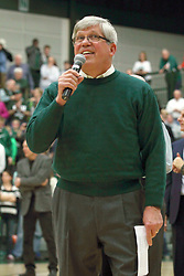 21 February 2015:  IWU President Richard Wilson.  At half time of an NCAA D# CCIW men's basketball game between the Illinois Wesleyan Titans in Shirk Center, Bloomington IL the floor was named in honor of retiring Dennie Bridges.  Dennie Bridges has been on the job at IWU for 51 years as a basketball coach, then athletic director.  Dennie is the 2nd winningest D3 coach by wins behind only Dick Saurs.  Dennie took the Titans to the D3 NCAA tournament 14 times in 18 season. He had a league record of 421-129 in 17 seasons.  Jack Sikma was a part of Dennie's 1973 recruiting class.  Sikma later played for the Milwaukee Bucks and Seattle Supersonics in the NBA.  IWU President Richard Wilson presided over the ceremony.