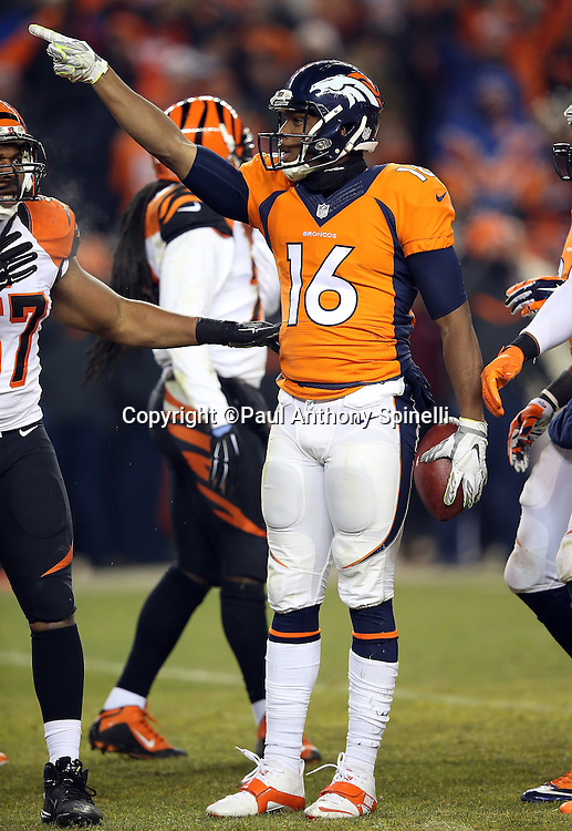 Denver Broncos wide receiver Bennie Fowler (16) points signaling first down as he celebrates after catching a pass good for a first down pass inside field goal range with less than one minute left in the fourth quarter during the 2015 NFL week 16 regular season football game against the Cincinnati Bengals on Monday, Dec. 28, 2015 in Denver. The Broncos won the game in overtime 20-17. (©Paul Anthony Spinelli)