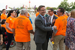 Lexington Mayor Jim Gray was greeted by protesters outside the 53rd Annual Kentucky Farm Beureau Country Ham Breakfast. The annual charity event was protested by Congressman John Yarmuth, Chris Hartman and other members of various fairness organizations outside the South Wing of the Kentucky Fair and Exposition Center, Thursday, Aug. 25, 2016 in Louisville.