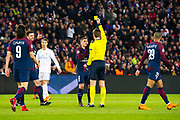 Marco Verratti (psg) received his first yellow card during the UEFA Champions League, round of 16, 2nd leg football match between Paris Saint-Germain FC and Real Madrid CF on March 6, 2018 at Parc des Princes stadium in Paris, France - Photo Pierre Charlier / ProSportsImages / DPPI