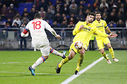 Nabil Fekir of Lyon and Álvaro of Villarreal during the UEFA Europa League, Round of 32, 1st leg football match between Olympique Lyonnais and Villarreal on February 15, 2018 at Groupama stadium at Decines-Charpieu near Lyon, France - Photo Romain Biard / Isports / ProSportsImages / DPPI