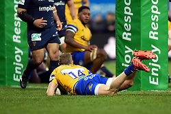 Ruaridh McConnochie of Bath Rugby scores a try in the second half - Mandatory byline: Patrick Khachfe/JMP - 07966 386802 - 15/12/2019 - RUGBY UNION - Stade Marcel-Michelin - Clermont-Ferrand, France - Clermont Auvergne v Bath Rugby - Heineken Champions Cup