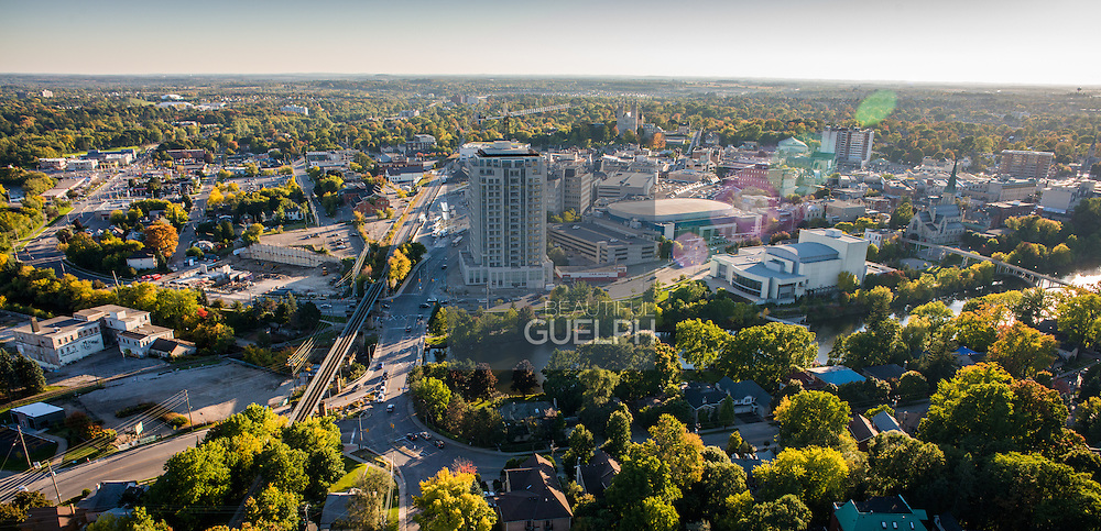 Downtown Guelph as seen from a drone above the city.  Taken fall 2014.  Many of the new projects in the core of the city can be seen.  Photo by Andrew Goodwin / Phil Maurion / Eye Fly Media Inc.