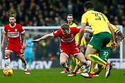 Middlesbrough midfielder Grant Leadbitter (7) fouled during the EFL Sky Bet Championship match between Norwich City and Middlesbrough at Carrow Road, Norwich, England on 3 February 2018. Picture by Phil Chaplin.