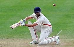 Lancashire's Tom Smith cuts the ball - Photo mandatory by-line: Harry Trump/JMP - Mobile: 07966 386802 - 08/04/15 - SPORT - CRICKET - Pre Season - Somerset v Lancashire - Day 2 - The County Ground, Taunton, England.