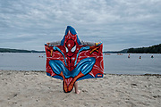 Canada. Quebec. 12-07-2017. Photo: PatrickPost. Spiderman towel at the beach of Lac Simon.