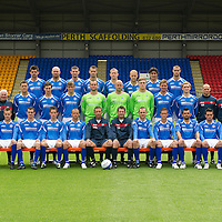 St Johnstone FC Season 2011-12<br /> Back row from left, Cillian Sheridan, Sam Parkin, Mark Durnan, David McCracken, Frazer Wright, Steven Anderson, Francisco Sandaza and Marcus Haber.<br /> Middle row from left, Gordon Marshall (Goalkeeping Coach), Alec Cleland (Youth Coach), Tommy Campbell (Youth Development Manager), Graham Gartland, Carl Finnigan, Murray Davidson, Alan Mannus, Peter Enckelman, Zander Clark, Jamie Adams, Liam Craig, Graham Kirk (Coach), Atholl Henderson (Coach), Jocky Peebles (Asst Physio) and Frank Kenny (Physio).<br /> Front row from left, Liam Caddis, Alan Maybury, David Robertson, Kevin Moon, Jody Morris, Derek McInnes (Manager), Tony Docherty (Asst Manager), Dave Mackay, Chris Millar, Callum Davidson, Sean Higgins and Stevie May.<br /> Picture by Graeme Hart.<br /> Copyright Perthshire Picture Agency<br /> Tel: 01738 623350  Mobile: 07990 594431