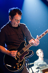 © Licensed to London News Pictures. 30/05/2014. Barcelona, Spain.   The Wedding Present performing live at Primavera Sound festival.  In this picture - David Gedge.  The Wedding Present are a British indie rock group based in Leeds, England, formed in 1985.   They are led by guitarist/vocalist David Gedge, the bands only constant member.  The current lineup also consists of Charles Layton (drums), Patrick Alexander (guitar), and Katherine Wallinger (bass).   Primavera Sound, or simply Primavera, is an annual music festival that takes place in Barcelona, Spain in late May/June within the Parc del Fòrum leisure site. Photo credit : Richard Isaac/LNP