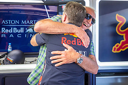 30.06.2019, Red Bull Ring, Spielberg, AUT, FIA, Formel 1, Grosser Preis von Österreich, Siegerehrung, im Bild v.l.: Dietrich Mateschitz (AUT) Red Bull Gruender und Eigentuemer, Motorsportchef Christian Horner (GRB, Red Bull Racing) // f.l.: CEO and Founder of Red Bull Dietrich Mateschitz (AUT) Red Bull Racing Team Principal Christian Horner (GBR) during the Winner ceremony for the Austrian FIA Formula One Grand Prix at the Red Bull Ring in Spielberg, Austria on 2019/06/30. EXPA Pictures © 2019, PhotoCredit: EXPA/ Dominik Angerer