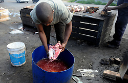 Cape Town-180906 Avuya Msongwelwa cleaning the Sheep head before thoroughly scrubbed and rinsed well to remove all hairs. The Sheep head also know as Smiley is very popular in the township it used to be cooked only if there was traditional cremony nowadays there are many places that clean and sell this delicacy,cooked or uncooked Sheep head cost R70 and half R35 Pictures Ayanda Ndamane/African/news/agency ANA