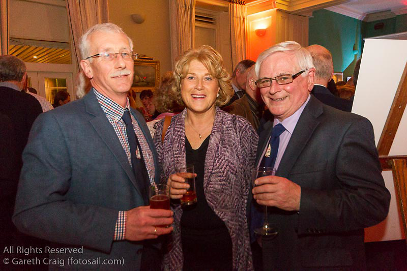 (l to r) Kieran O'Sullivan, Aisling O'Sullivan, and Chris Moore at the reunion night to celebrate 50 years of the Irish Fireball Class, held at the Royal St George YC.