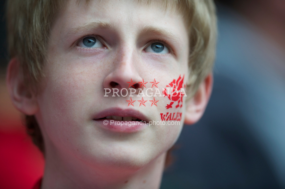 CARDIFF, WALES - Saturday, March 26, 2011: A Wales supporter before the UEFA Euro 2012 qualifying Group G match against England at the Millennium Stadium. (Photo by David Rawcliffe/Propaganda)