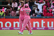 Temba Bavuma celebrates his catch during the One Day International match between South Africa and England at Bidvest Wanderers Stadium, Johannesburg, South Africa on 9 February 2020.