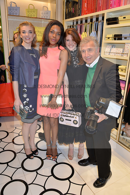 Left to right, NATALIE DORMER, NAOMIE HARRIS, ROSE LESLIE and JAMES PELTEKIAN at the opening party of the new Kate Spade New York store at 182 Regent Street, London on 21st April 2016.