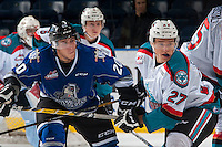 KELOWNA, CANADA - SEPTEMBER 3: Gunnar Wegleitner #20 of Victoria Royals is checked by Calvin Thurkauf #27 of Kelowna Rockets during first period on September 3, 2016 at Prospera Place in Kelowna, British Columbia, Canada.  (Photo by Marissa Baecker/Shoot the Breeze)  *** Local Caption *** Gunnar Wegleitner; Calvin Thurkauf;