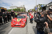 "Start of Gumball 3000 particpants from Vienna to Budapest, after a ""breakfast stop"" at Kursalon Hübner at the Stadtpark..A Ferrari F50 drawing the attention of the crowd.Gumball 3000 is an ""illegal"" race on public streets for millionaires and show-buiz people in sports cars. Starting in London on April 30, 2006 and finishing 8 days later in Los Angeles...this one is just NUTS, 120 amazing cars driving 3000 miles across 3 Continents in just 8 days! More info at www.gumball3000.com"