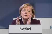 22 NOV 2019, LEIPZIG/GERMANY:<br /> Angela Merkel, CDU, Bundeskanzlerin, applaudiert waehrend der Rede von AKK, CDU Bundesparteitag, CCL Leipzig<br /> IMAGE: 20191122-01-097<br /> KEYWORDS: Parteitag, party congress