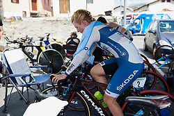 Lotta Lepistö (FIN) warms up for Emakumeen Bira 2018 - Stage 2, a 26.6 km time trial from Agurain to Gasteiz, Spain on May 20, 2018. Photo by Sean Robinson/Velofocus.com