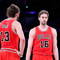 29 January 2015: Chicago Bulls center Joakim Noah (13) is seen next to Chicago Bulls forward Pau Gasol (16) during the Los Angeles Lakers 123-118 2OT victory over the Chicago Bulls, at the Staples Center, Los Angeles, California, USA.