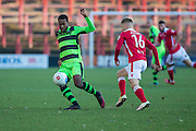 Forest Green Rovers Dale Bennett(6) on the ball during the Vanarama National League match between Wrexham FC and Forest Green Rovers at the Racecourse Ground, Wrexham, United Kingdom on 26 November 2016. Photo by Shane Healey.