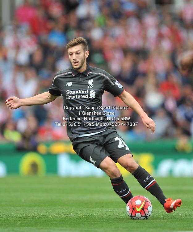 ADAM LALLANA LIVERPOOL, Stoke City v Liverpool, Premiership, Britannia Stadium Sunday 9th August 2015