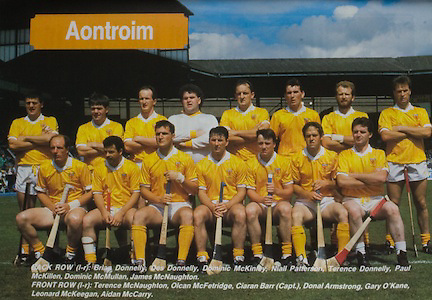 All Ireland Senior Hurling Championship Final,.03.09.1989, 09.03.1989, 3rd September 1989, .Antrim v Tipperary, .03091989AISHCF,.Tipperary 4-24, Antrim 3-9,.Gillette,..Antrim, back row, Brian Donnelly, Des Connelly, Dominic McKinley, Niall Paterson, Terence Donnelly, Paul McKillen, Dominic McMullan, James McNaughton, .Front row, left to right, Terence McNaughton, Olcan McFetridge, Ciaran Barr captain, Donal Armstrong, Gary O'Kane, Leonard McKeegan, Aidan McCarry,.