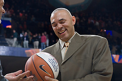 Virginia head coach Dave Leitao is given a basketball honoring his 100th win at the end of the Wake Forest game (his 106th career win).  The Virginia Cavaliers defeated the Wake Forest Demon Decons 88-76 at the John Paul Jones Arena in Charlottesville, VA on January 21, 2007.