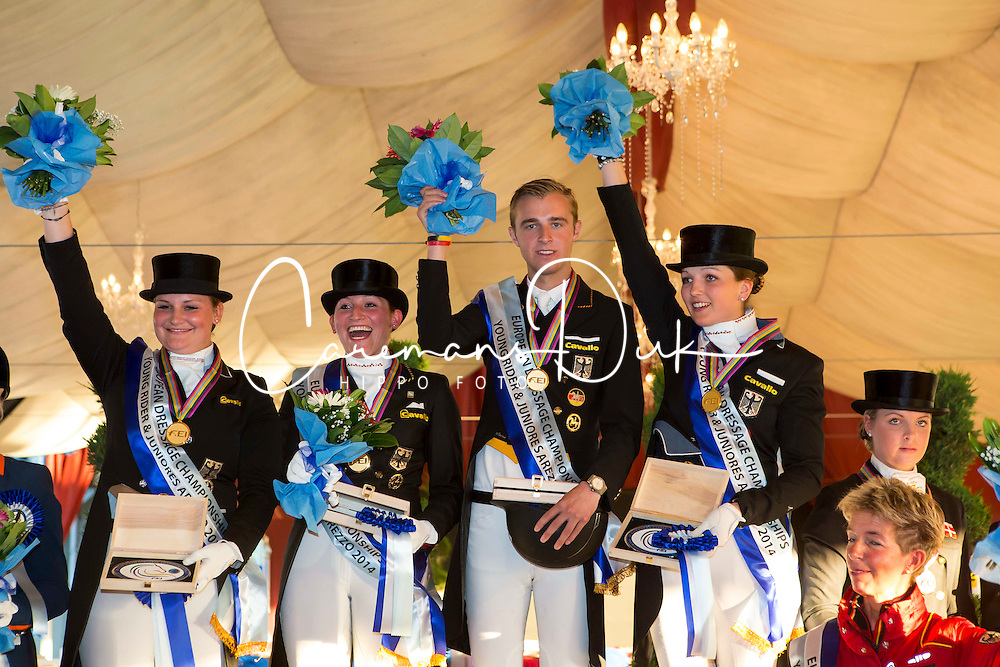 Prize giving Young Riders Team Test 1. Germany 2. The Netherlands 3. Danmark<br /> European Championships Dressage Junior and Young Riders 2014<br /> © Hippo Foto - Leanjo de Koster