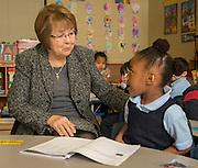 Herlinda Garcia reads with Pre-K students at JP Henderson Elementary School, February 21, 2015.