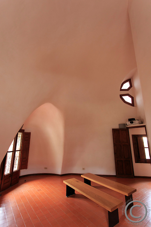 Inside the entrance building of Park Guell in Barcelona, Spain.