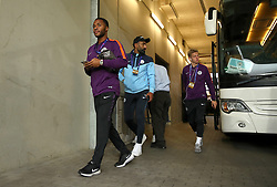 Manchester City's Raheem Sterling arrives at the stadium ahead of the match