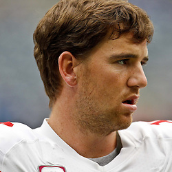 October 10, 2010; Houston, TX USA; New York Giants quarterback Eli Manning (10) during warms ups prior to kickoff of a game against the Houston Texans at Reliant Stadium. The Giants defeated the Texans 34-10. Mandatory Credit: Derick E. Hingle