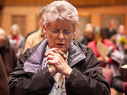09 JANUARY 2012 - PHOENIX, AZ:    Dianne Irvin (CQ) from Glendale, prays in the state senate  during the Prayer Walk sponsored by the Center for Arizona Policy at the Arizona State Capitol in Phoenix Monday. The Arizona legislature started its 2012 session and Gov. Jan Brewer delivered her State of the State Monday, Jan 9.                   PHOTO BY JACK KURTZ