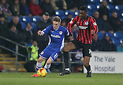 Craig Noone and Rohan Ince, Brighton midfielder during the Sky Bet Championship match between Cardiff City and Brighton and Hove Albion at the Cardiff City Stadium, Cardiff, Wales on 10 February 2015.