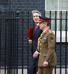 Rt Hon Philip Hammond MP.Defence Secretary with Sir David Richards arriving for meeting at 10 Downing Street London Great Britain .5th February 2013. Photo by Elliott Franks / i-Images.