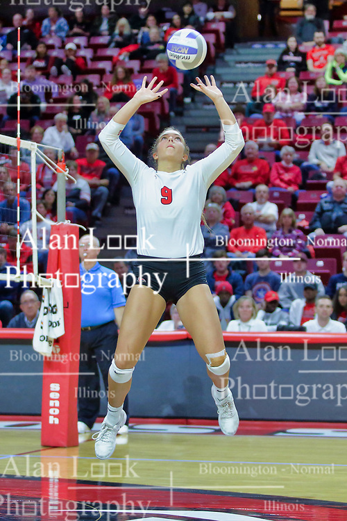 BLOOMINGTON, IL - October 12: Stef Jankiewicz during a college Women's volleyball match between the ISU Redbirds and the Valparaiso Crusaders on October 12 2018 at Illinois State University in Bloomington, IL. (Photo by Alan Look)