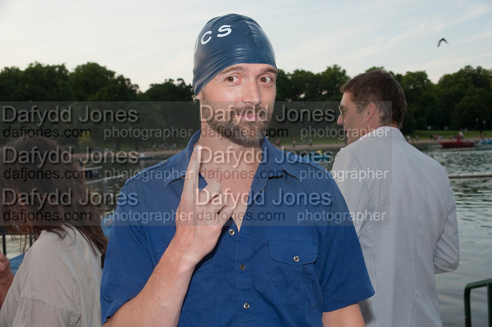 PATRICK GRANT, Chucs Dive & Mountain Shop charity Swim Party: Lido at The Serpentine. London. 4 July 2011. <br /> <br />  , -DO NOT ARCHIVE-© Copyright Photograph by Dafydd Jones. 248 Clapham Rd. London SW9 0PZ. Tel 0207 820 0771. www.dafjones.com.