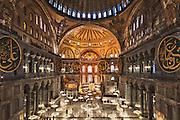 Turkey, Istanbul, Sultanahmet. Interior of the Hagia Sophia mosque.