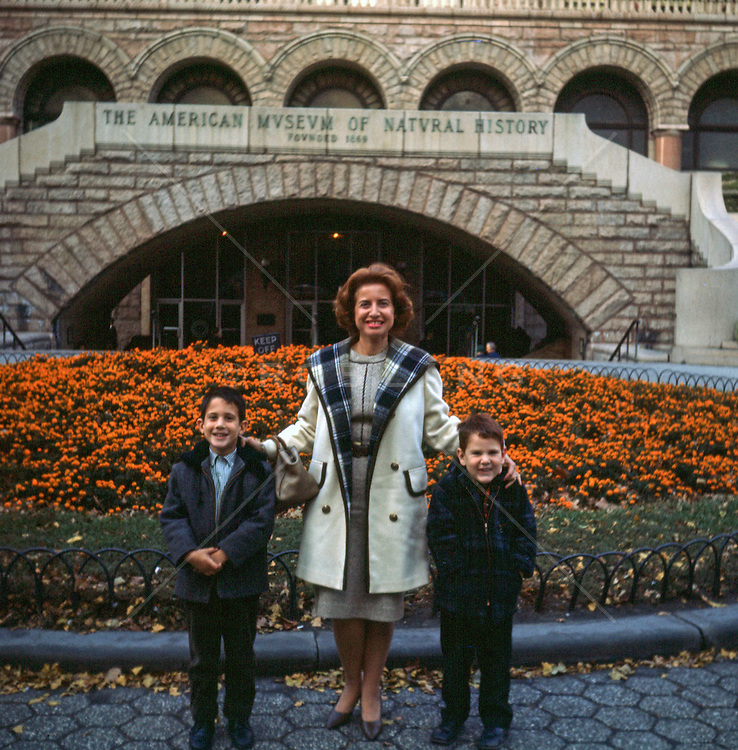 mother and two boys standing in front of The American Museum of Natural History in New York City in the 60's