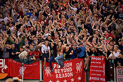 ROME, ITALY - Wednesday, May 2, 2018: Liverpool supporters celebrate after the 7-6 aggregate victory over AS Roma during the UEFA Champions League Semi-Final 2nd Leg match between AS Roma and Liverpool FC at the  Stadio Olimpico. (Pic by David Rawcliffe/Propaganda)