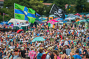 The audience for the Pyramid stage while George Ezra performs. The 2015 Glastonbury Festival, Worthy Farm, Glastonbury.