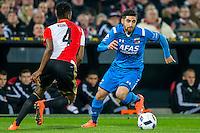 ROTTERDAM - 03-03-2016, Feyenoord - AZ, stadion de Kuip, 3-1, Feyenoord speler Terence Kongolo, AZ speler Alireza Jahanbakhsh