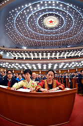 Members of the 12th National Committee of the Chinese People's Political Consultative Conference press the voting devices during the closing meeting of the annual session of the country's top political advisory body at the Great Hall of the People in Beijing, capital of China, March 14, 2016. EXPA Pictures © 2016, PhotoCredit: EXPA/ Photoshot/ Li Tao<br /> <br /> *****ATTENTION - for AUT, SLO, CRO, SRB, BIH, MAZ, SUI only*****