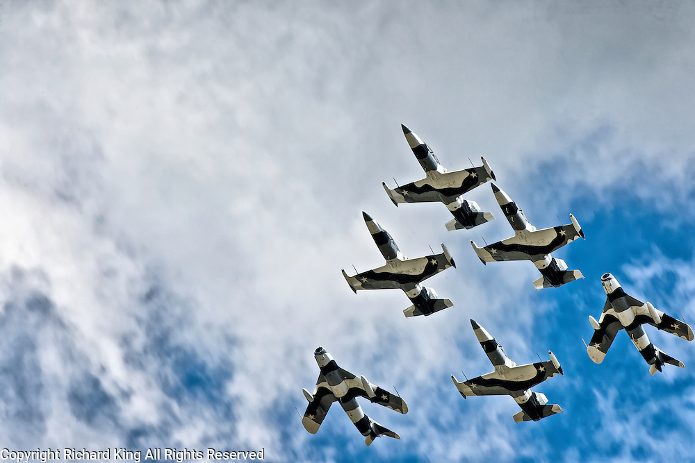Color photographic image of the Black Diamond Jet Team in full formation with two Mig-17s and four L-39 Albatros aircraft in Arctic Camouflage