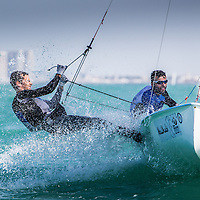 2014 ISAF Sailing World Cup Final, Abu Dhabi, United Arab Emirate.28TH NOVEMBER 2014 day 3 of racing. All ten Olympic sailing events are being contested in Abu Dhabi from with an open kiteboarding event joining the fray around Lulu Island off the UAE capital's stunning Corniche. Prize money will be awarded to the top three overall finishers in each of the Olympic events from a total prize purse of US$200,000. The Abu Dhabi Sailing and Yacht Club is the host of the ISAF Sailing World Cup Final with some technical facilities located at the adjacent Abu Dhabi International Marine Sports Club. The venue is located on the main island of the city with immediate access to the beautiful waters of the Arabian Gulf.